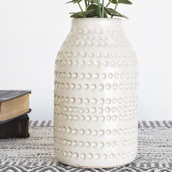 8 Inch White Dot Vase