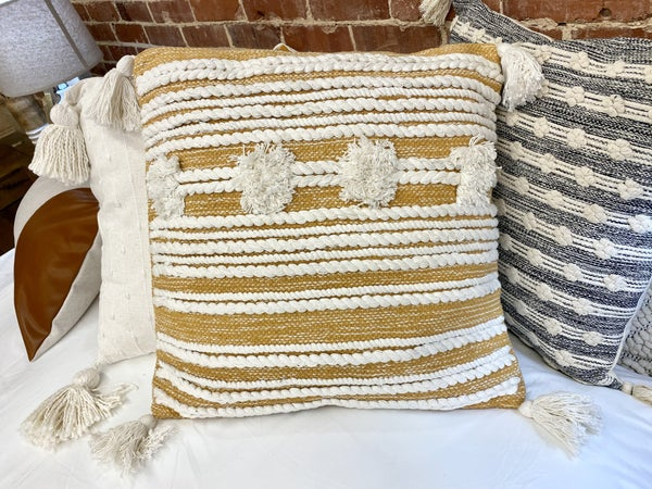 Golden Mustard Blake Yarn Pillow