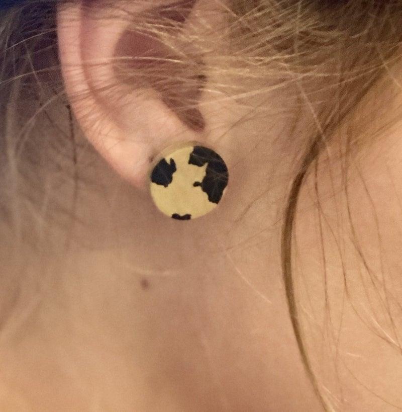 Leopard Button Clay Earrings