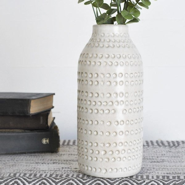 Tall White Dot Vase