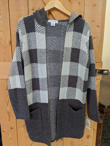Grey plaid cardigan