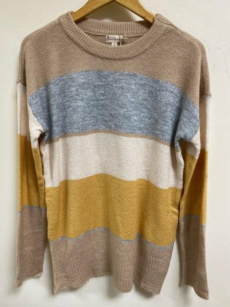 Mustard Color Block Sweater