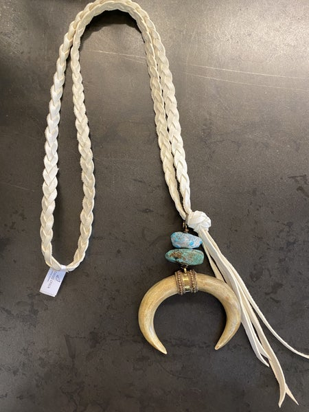Squash Bone Horn Turquoise Cream Braided Leather Necklace