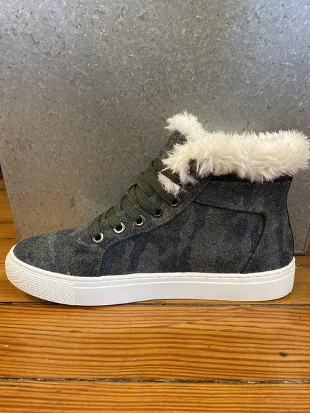 Faux Fur Camo Sneaker Boot