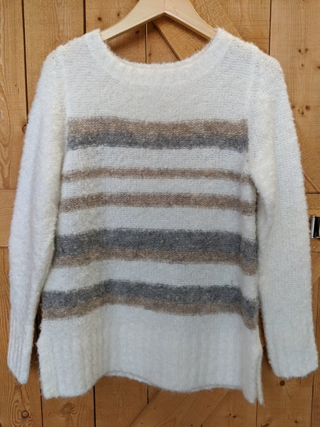 White sweater with beige and gray stripes