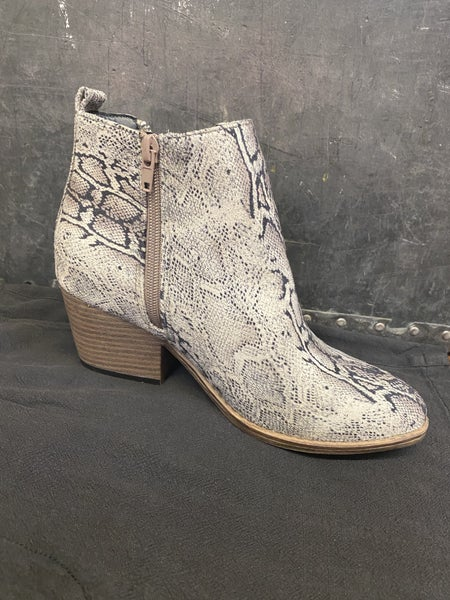 Faux Suede Snake Print Ankle Boot