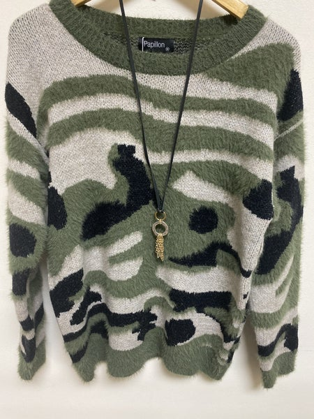 Textured Camo Sweater