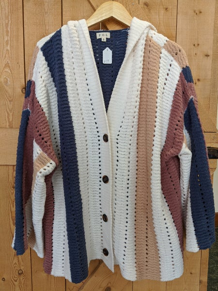 Cream, navy, pink, and tan cardigan