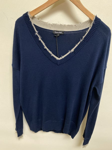 Navy and Tan Distressed Sweater