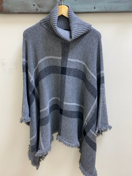 Knitted Cowl Neck Poncho