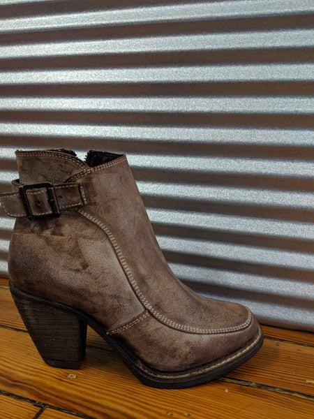 Distressed Brown Leather Ankle Boot