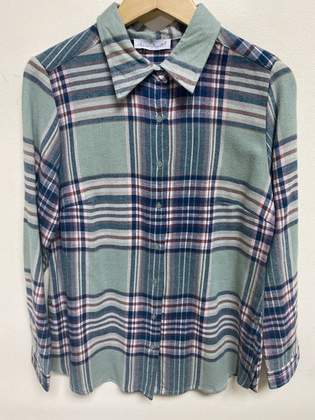 Sea Foam and Navy Plaid Top