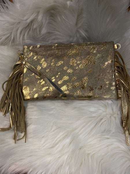 Gold Cowhide Clutch