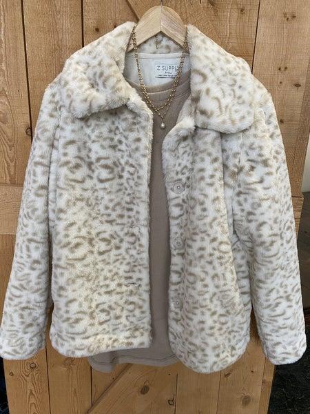 Faux Fur White Leopard Coat