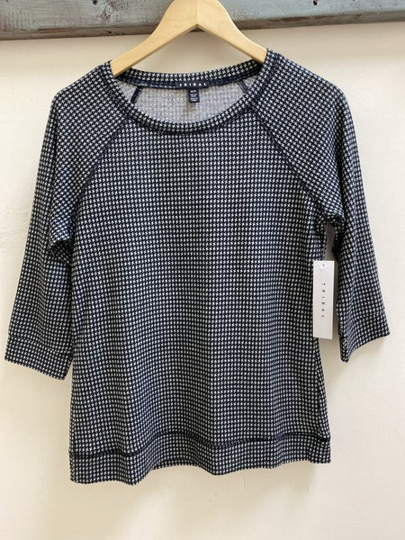 Tribal hounds tooth brushed knit top