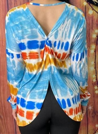 Tie dye cross open back top PU