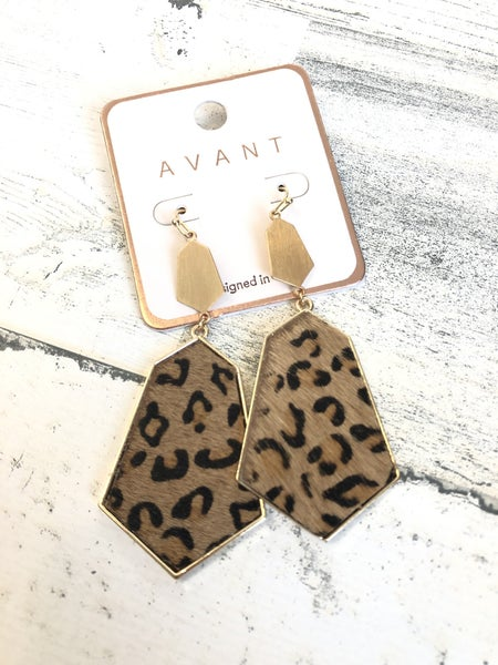 Tan leopard hide dangle earrings
