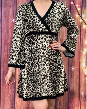BUTTERY SOFT LEOPARD AND LACE DRESS PU