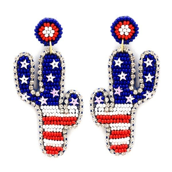 Stars and Stripes cactus earrings