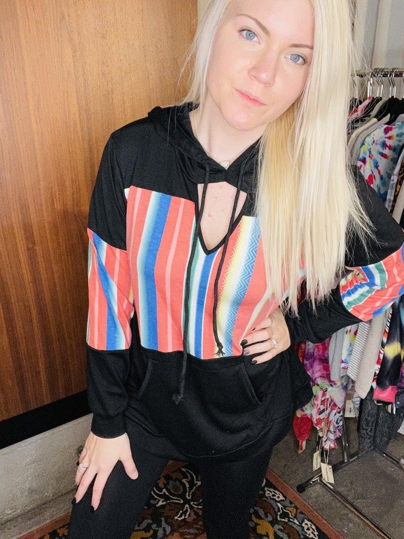 Black serape color block hoodie w/keyhole neckline PU *Final Sale*
