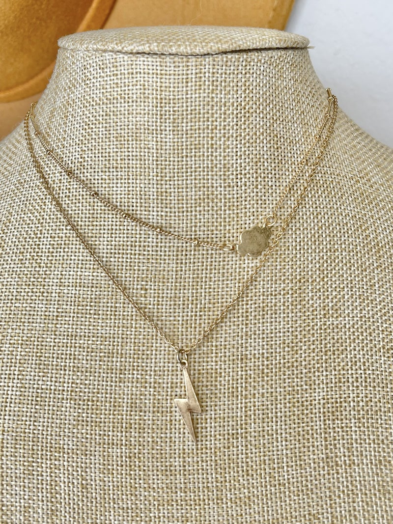 CLOUD AND BOLT TWO LAYER NECKLACE