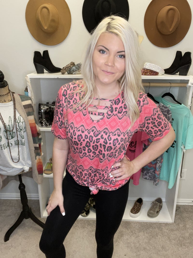 PINK LEOPARD AZTEC WITH CAGE NECKLINE PU *Final Sale*