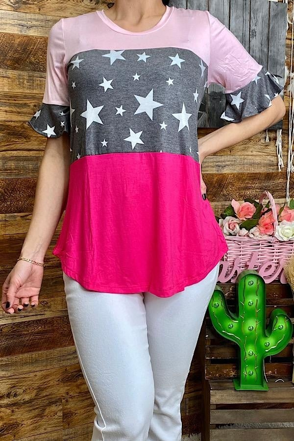 Pink/stars color block top w/short ruffle sleeves PU