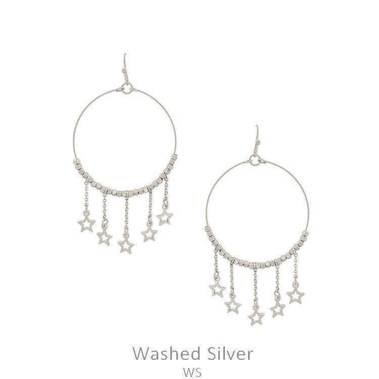 Washed Silver Hoop w Dangle Chain Star Earring