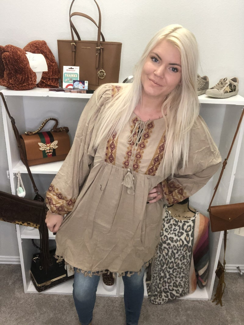 Embroidery Tasseled Tunic Top *Final Sale*