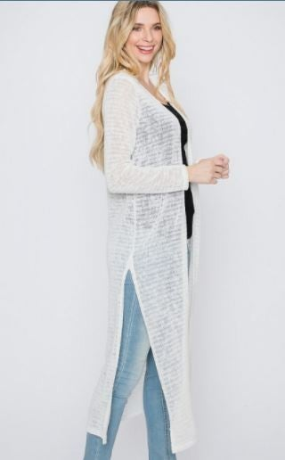 White Long Knit Open Cardigan w side slit