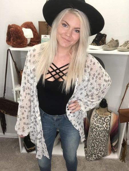 Star Swiss Dot Kimono Cardigan