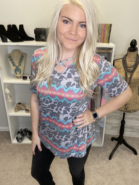 Gray leopard and multicolored Santa Fe crisscross top PU *Final Sale*