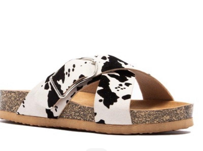 Cow Print Women's Buckle Double Strap Slide Sandals