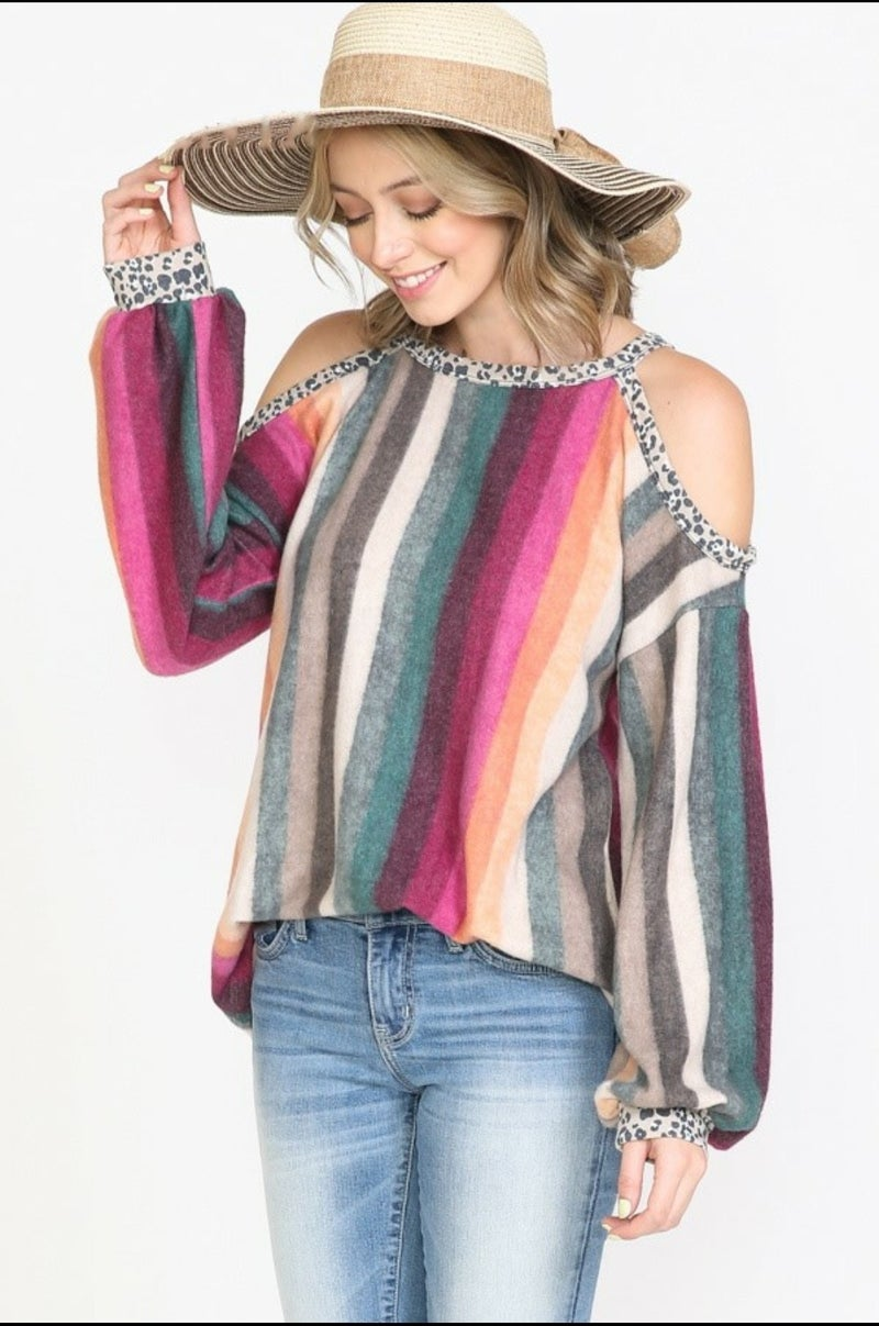 CASHMERE SOFT SERAPE AND LEOPARD COLD SHOULDER SWEATER TOP *Final Sale*