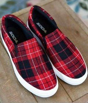 SODA Platform Red Buffalo Plaid Slip-On Shoes *Final Sale*
