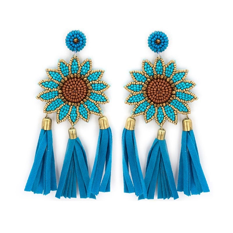 Seed Bead Sunflower Earrings
