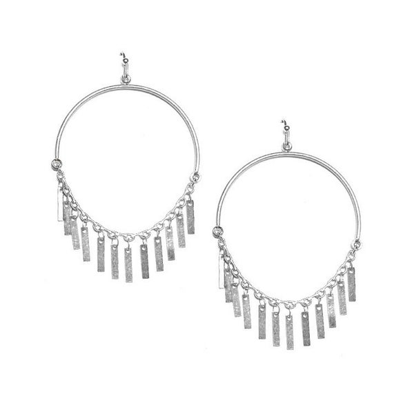 Dangle hoop with metal fringe earrings