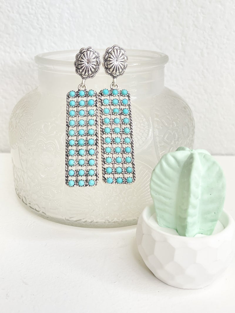 TURQUOISE AND SILVER DANGLE EARRINGS