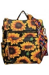 SUNFLOWER BACKPACK WITH COLORFUL STRAP PU