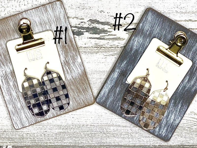 Checker machine metal earrings