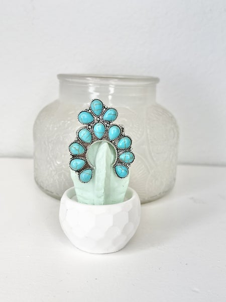 OS TURQUOISE SQUASH BLOSSOM RING