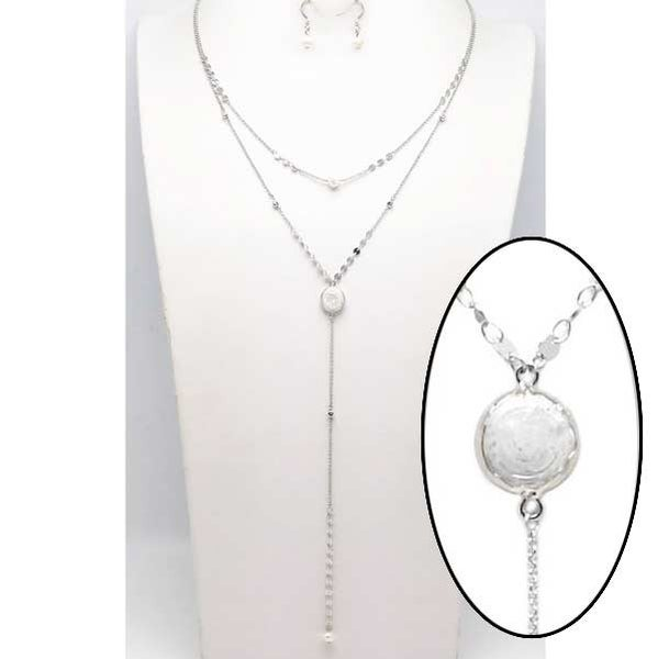 Silver and pearl multi layer necklace set