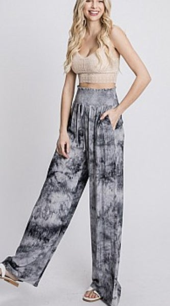 TIE DYE SMOCKED WAIST WIDE LEG PANTS NAVY