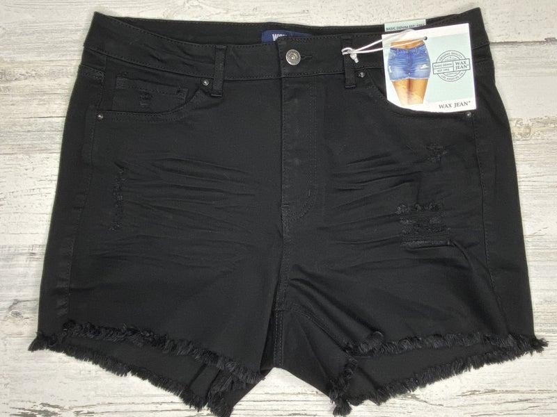Black Destroyed  Denim  Shorts