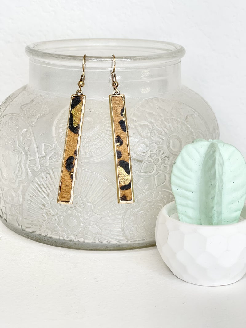 Rectangle Leopard Hide Earrings