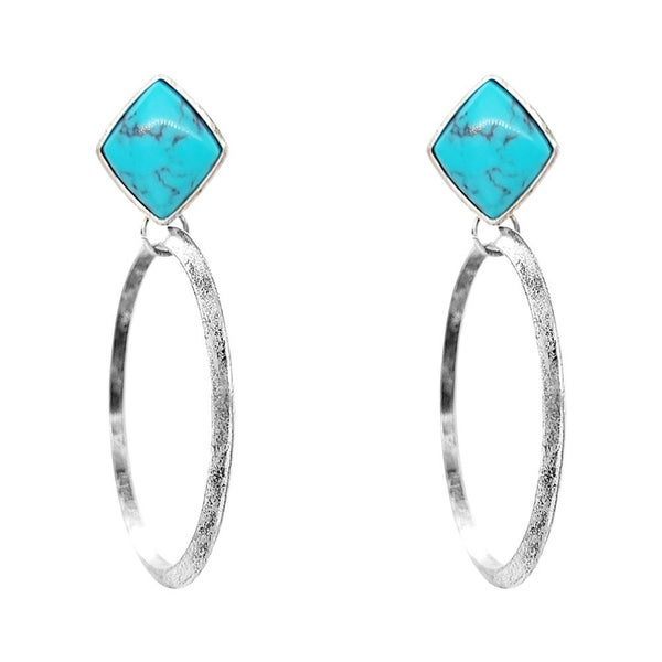Polished Diamond Shaped Stone Pendant Dangle Hoop Earrings
