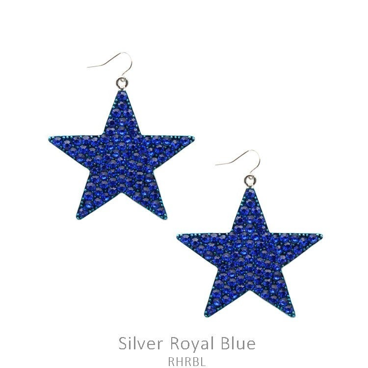 Blue Bling Star Earrings