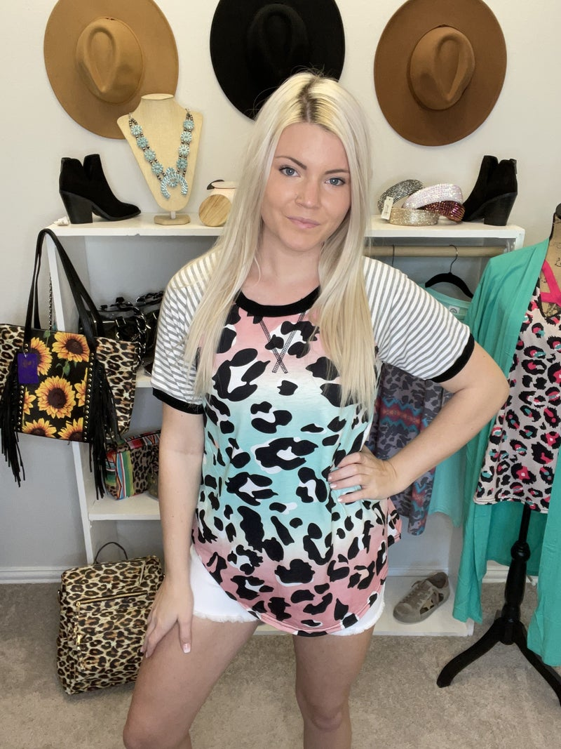 Multi color leopard printed top w/short stripe sleeves
