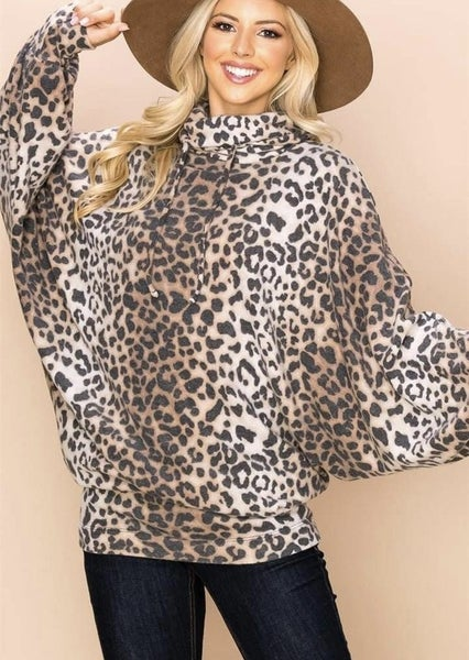 CASHMERE SOFT LEOPARD COWL NECK TOP *Final Sale*