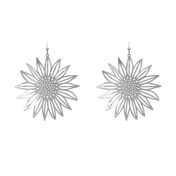 Machine Metal Sunflower Earrings